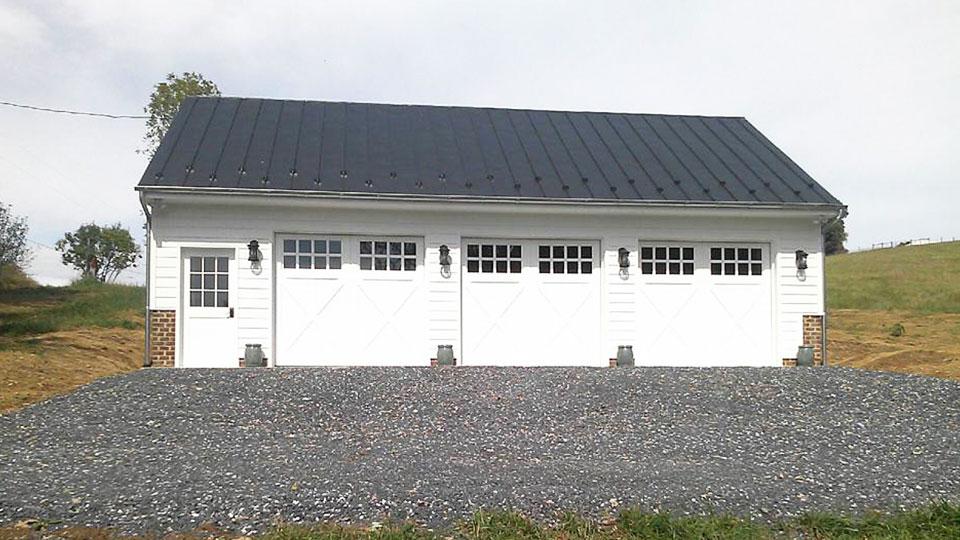 barn door garage white triple